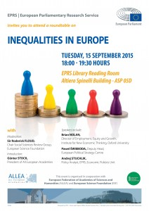 "ALLEA co-organises debate on ""Inequalities in Europe"" at the European Parliament in Brussels"