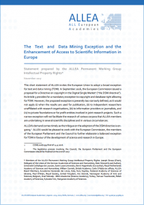 "ALLEA publishes statement on ""The Text and Data Mining Exception"""