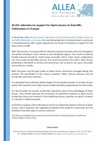 ALLEA reiterates its support for Open Access to Scientific Publications in Europe