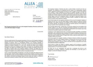 ALLEA Publishes Open Letter in support of the Hungarian Academy of Sciences