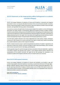 ALLEA publishes statement on the inappropriate political infringement on academic curricula in Hungary